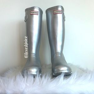 •Hunter• Metallic Original Tall Rain Boots US 5y